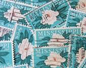Steel Magnolias 30 Vintage Flowers US Postage Stamps Mississippi Statehood Deep South Turquoise Aquamarine Floral Scrapbooking Spring Grow