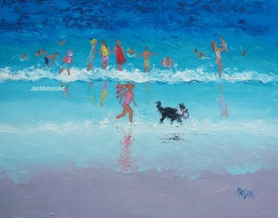 beach painting beach decor whimsical beach art by janmatsonart dog friendly beach cottages dog friendly beach cottages wales