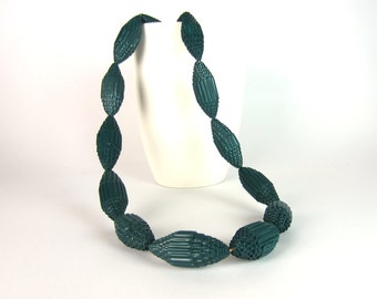 Teal: Statement Necklace FILA with Beads of Corrugated Cardboard