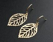 Gold Leaf Dangle Earrings Everyday Jewelry