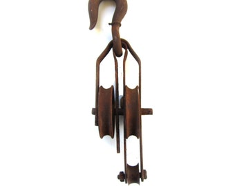 Antique Block and Tackle Double Wheel Pulley