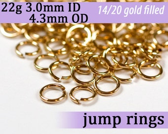 22g 3.0mm ID 4.3mm OD gold filled jump rings -- 22g3.00 goldfill jumprings 14k goldfilled jewelry supplies findings