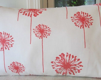 SALE 12 x 18 Lumbar Coral Dandelion Fabric Both Sides
