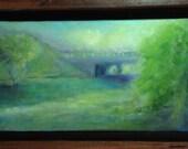 """Original Art Oil Landscape painting """"Bridge by the River"""