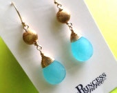 Faceted Turquoise Agate and Vermeil Earrings