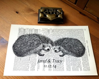 Hedgehogs Love Wedding Engagement Anniversary Valentine Gift Personalized Art Print on Antique 1896 Dictionary Book Page