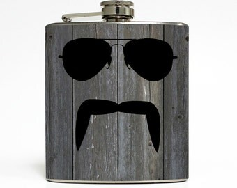 Aviator and Mustache Whiskey Flask Handlebar Fu Manchu Custom Background Guys Groomsmen Gifts Stainless Steel 6 oz Liquor Hip Flask LC-1210