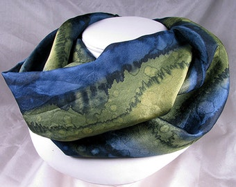 Silk Scarf - Hand Painted Silk Art - Quintessence, Silk Wrap - Navy Olive