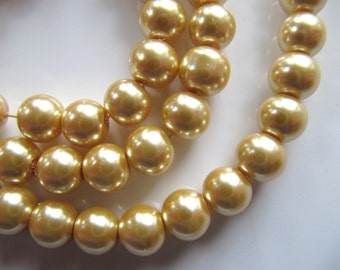 8mm Glass Pearl Beads in Champagne Gold, 50 Pieces, Round Glass Beads