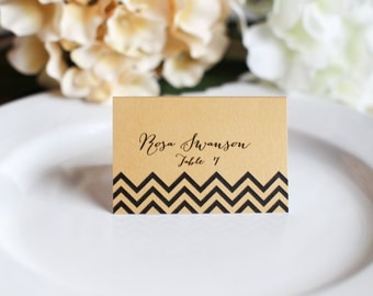 Wedding Custom Customize Chevron Place Cards Simple Elegant Names Guest
