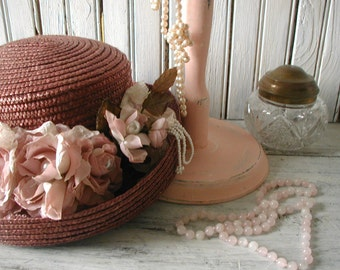 Vintage Re-styled Hat and Pink Display Stand Necklace Storage & Wearable Straw Hat w/ Roses Lace Pearls Feminine Shabby Chic Decorative