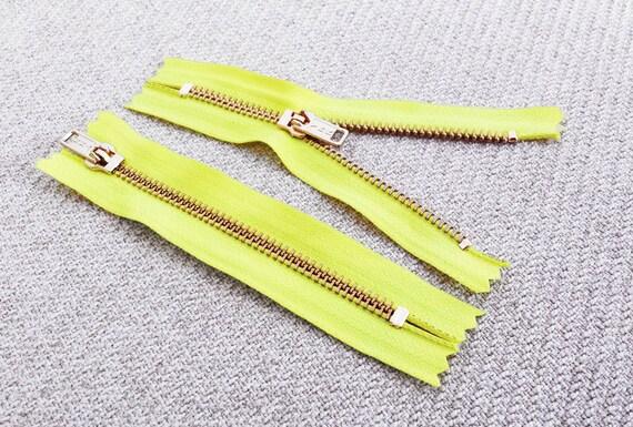 5inch - Neon Yellow Metal Zipper - Gold Teeth