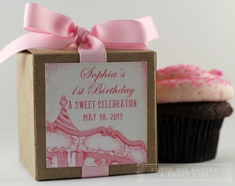 VINTAGE PINK CAROUSEL ...One Dozen Personalized Cupcake Mix Party Favors
