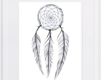 NZFINCH A4 dreamcatcher digital print of original artwork