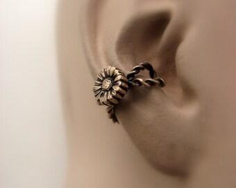 Sunflower ear cuff