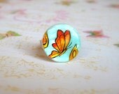 Butterfly ring painted by hand, artisan jewelry, autumn jewelry, butterfly jewelry