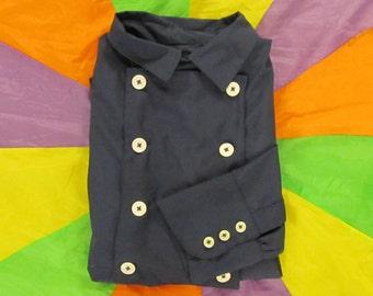 "Monkees style 18"" Neck Blue 8 button Bib Front Shirt"