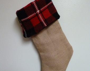Burlap and Plaid Christmas Stocking