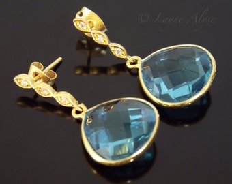 Matte and shiny yellow gold and London blue teardrop earrings