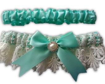 Wedding Garter set , with Something Blue Aqua satin and Venice Lace