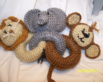 Crochet baby animal link rattle toy ANY animals you want ANY colors you want woodland fox moose skunk badger squirrel