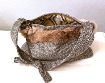 Hand Bag-Shoulder Bag-Rabbit Fur-Beads and Button-Knotted Strap-Hand and Machine Sewn-Hobo Bag-Zip Close-Leather Strap