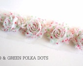 "Mini Shabby Rose Trim - Petite- 1/2 yard -- 1 1/2"" wide - Red & Green Polka Dots"