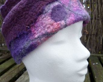 Felted hat/collar, wool, woman, gift, free shipping