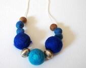 Felt Jewelry, Beaded Felt Necklace, Blue, light blue, brown Felt necklace with metal embellishments