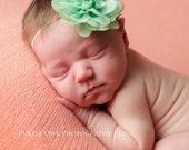 Mint baby headband, green baby headband,  infant headband, newborn headband, mint green chiffon flower headband