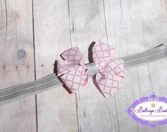 Pink and gray baby headband, infant headband, baby headband, newborn headband, bow headband, pink baby headband
