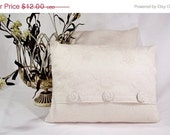 Pillow Cover 12x16 Off White Cotton Linen Fabric with Embroidered Pattern.