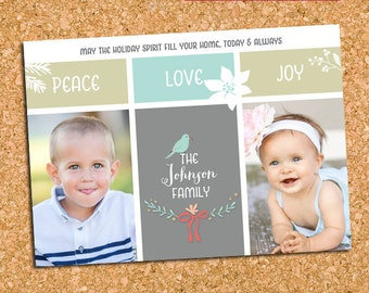 Peace Love Joy Christmas Photo Card, Two Picture Holiday Photo Card - DiY Printable, Print Service Available || Simply Joyous Blocks