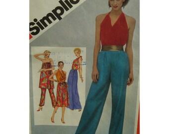 "Vintage Disco Halter Top Pattern, Resort Wear, Evening Wear, Skirt, Draped Pants, Simplicity No. 5102 UNCUT Size 8 Bust 31.5"" 80cm"