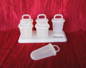 Vintage Tupperware Popsicle Molds SET of 6, Tupperware Ice Tups, Freezer Pop Makers with one tray, 6 tups, 6 sticks, 6 seals with RECIPES