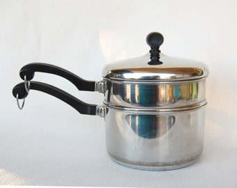 Vintage Farberware 2 Quart Double Boiler Aluminum Clad Stainless Steel