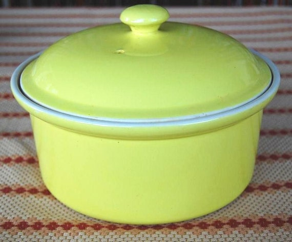 Vintage Hall China Number 69 Casserole Stoneware Casserole by Hall China Company Big Yellow Covered Casserole