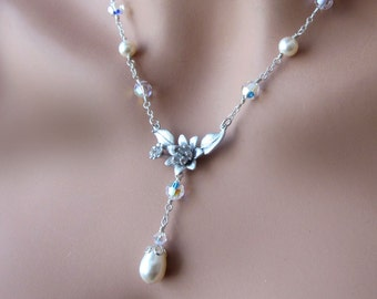 Silver Flower Pearl Crystal Necklace Sterling Silver Cable Chain Womens Wedding Jewelry Gift