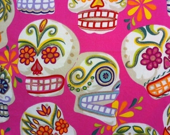 Pillow Cover in Day of the Dead Skull Bright Pink Print