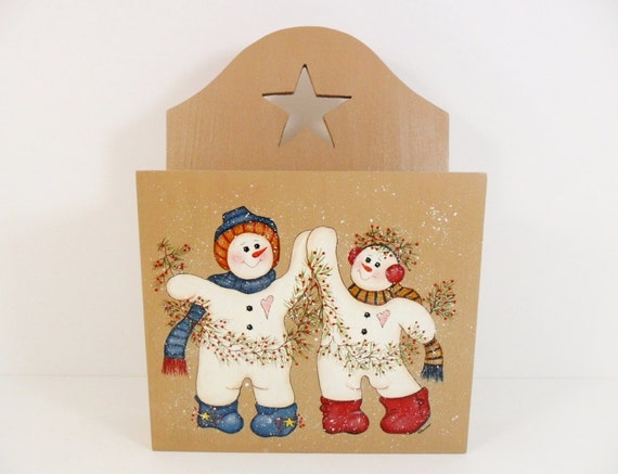 Snowman christmas card mail holder wood wall pocket hand