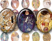 GUSTAV KLIMT Paintings 30x40 mm Ovals - Digital Printable sheet for Pendants Cameos Magnets Bezel Cabs...Art Nouveau Vienna Secessionist