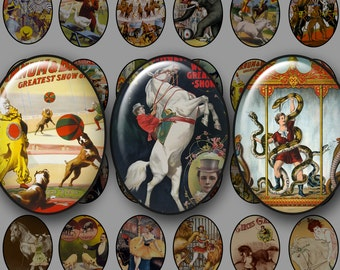 OLD CIRCUS POSTERS (Animals) 30x40 mm Ovals - Digital Printables for Cameos Pendants Magnets Bezel Cabs...Lions Tigers Elephants Stallions