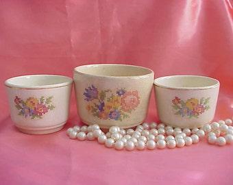 3 Vintage Bakerite Small Bowls Needlepoint Flowers