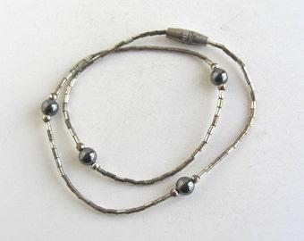 """10"""" Sterling Silver & Hematite Link Bracelet / Short Necklace- Vintage"""
