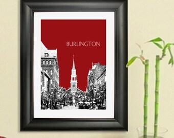 Burlington Skyline Poster - Burlington Vermont Skyline Art Print - 8 x 10 Choose Your Color