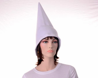 White Wizard Hat Alchemist Sorcerer Brimless Standing Pointed Hat Costume White Gnome Hat