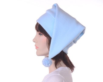 Pointed Stocking Cap Pastel Blue with Pompom Pointed Elf Dwarf Hat Warm Winter Hat Adult Mens Womens Cap