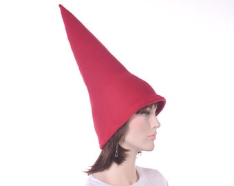 Dark Red Gnome Hat Extra Tall Men Women Pointed Costume Party Hat Brick Red Gnome Cap