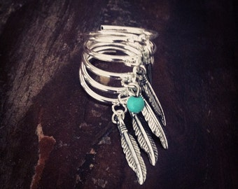 SPIRAL Wire wrapped Silver Ring SIZE 6 with tiny Turquoise bead and dangle Feathers silver Charms Unique Handcrafted Jewelry Bohemian Native