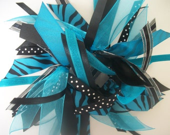 Turquoise, Black, and Silver Ribbon Ponytail Streamer